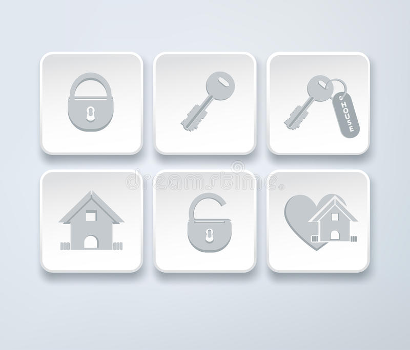 Set wektorowe ikony z małym domem, klucz, otwarty, zamknięty kędziorek, ilustracja wektor
