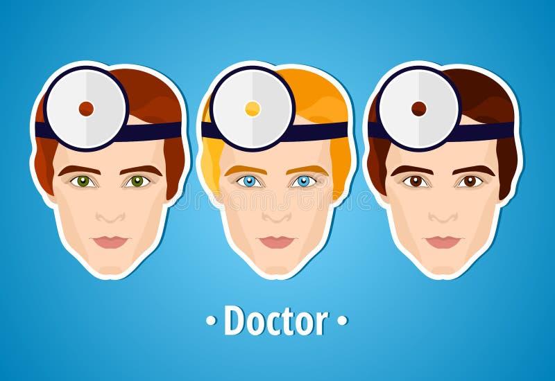 Set wektorowe ilustracje lekarka lekarka Mans twarz ikona Płaska ikona minimalista Stylizowany mężczyzna okupacyjny szachrajka ilustracja wektor