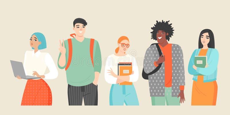 Set wektorowe ilustracje młodzi ludzie różne narodowości grupowi ucznie ilustracja wektor