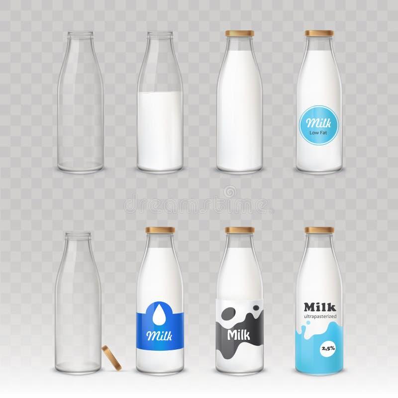 Set wektorowe ilustracje szklane butelki z mlekiem z różnymi etykietkami ilustracja wektor