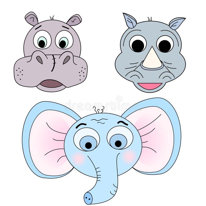 Set wektorowe ilustracje zwierzęce głowy Hipopotam, nosorożec, słoń royalty ilustracja