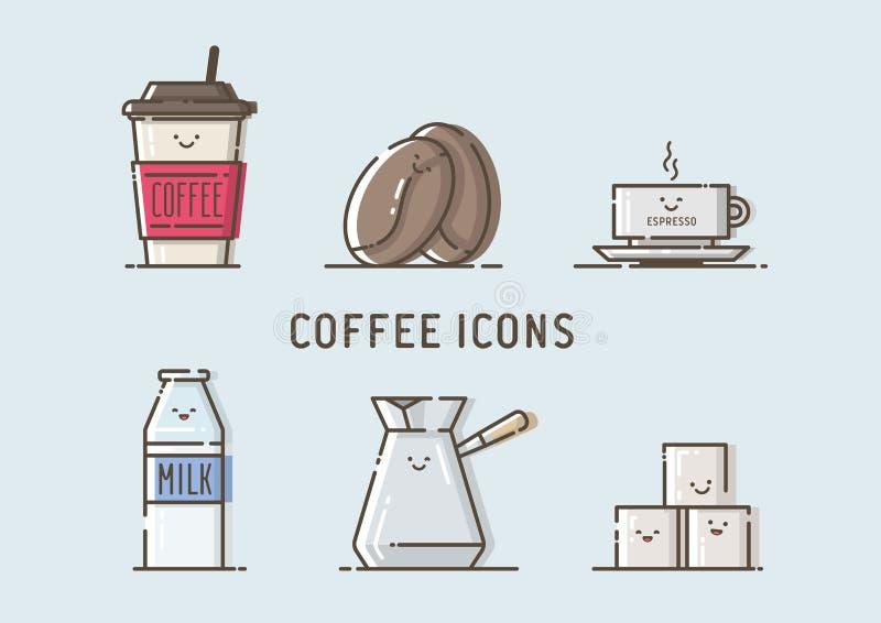 Set wektorowe kawowe ikony obrazy stock