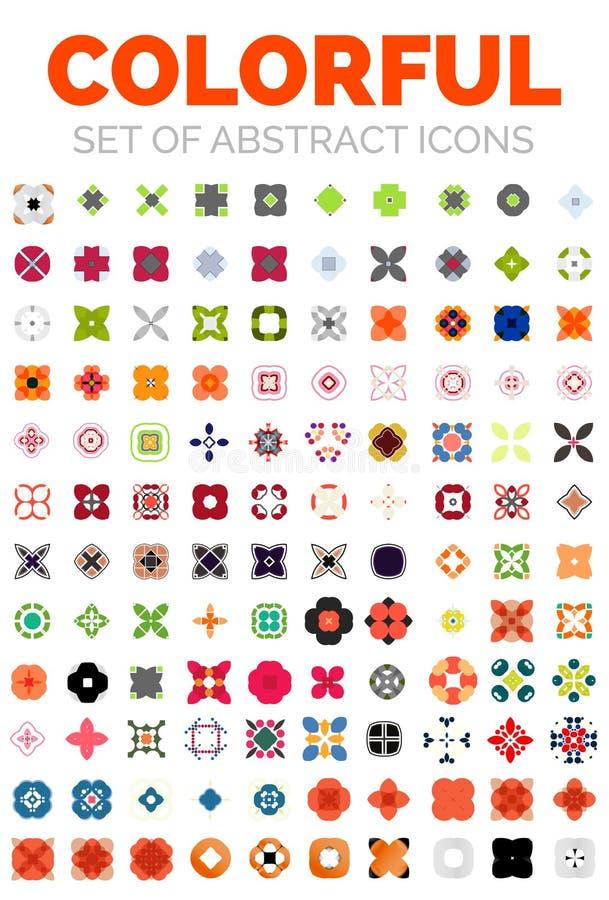 Set wektorowe kolorowe geometrical abstrakcjonistyczne ikony ilustracja wektor
