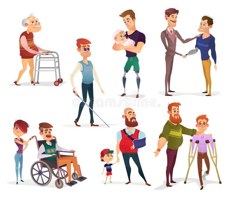 Set wektorowe kreskówek ilustracje ludzie z kalectwami odizolowywającymi na bielu ilustracja wektor