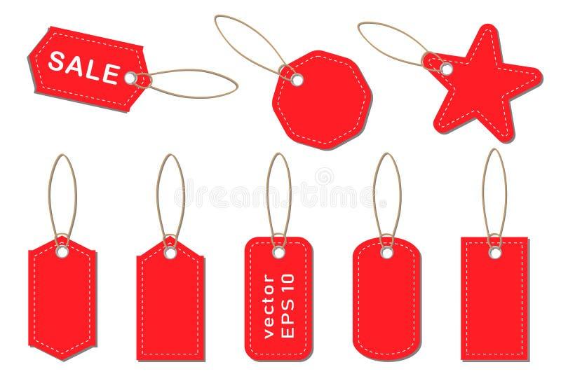 Set wektorowe metki i etykietki dla sprzedaży w przechuje, supermarkety royalty ilustracja