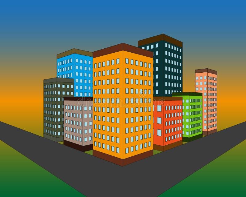 Set wektorowe mieszkanie stylu fasady panel domy Klasycznych blok?w mieszkalnych architektoniczni symbole i projekt?w elementy Ko royalty ilustracja