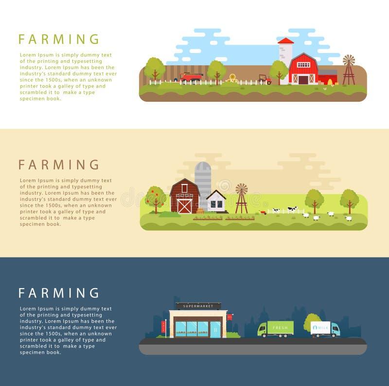 Set Wektorowe mieszkanie stylu ilustracje gospodarstwo rolne krajobraz ilustracji