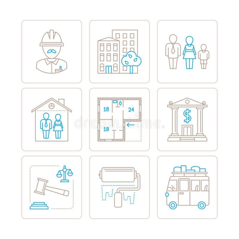 Set wektorowe nieruchomości ikony, pojęcia w mono cienkim kreskowym stylu i ilustracja wektor