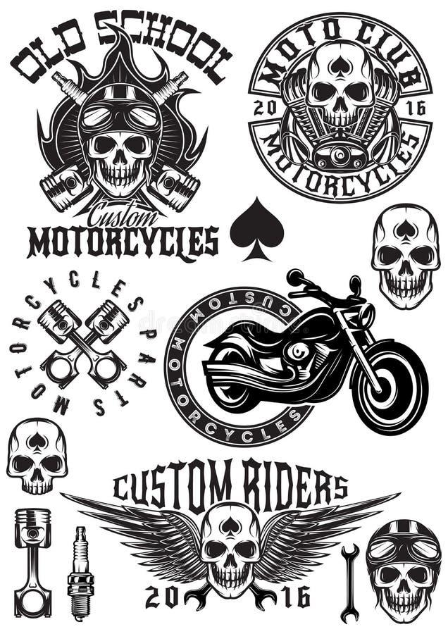 Set wektorowe odznaki, logowie, projektów elementy na tematów motocyklach z czaszkami ilustracja wektor