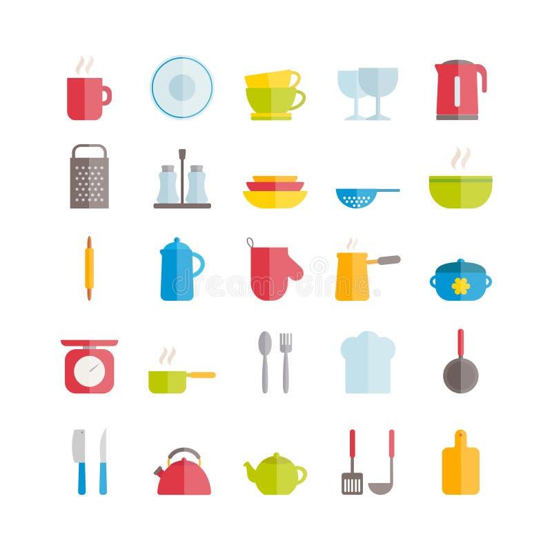 Set wektorowe płaskie crockery ikony Nowożytne ikony kuchenni naczynia ilustracji