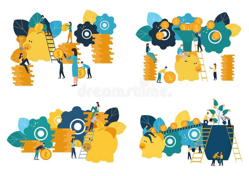 Set wektorowe płaskie ilustracje, duży prosiątko bank na białym tle, usluga finansowa, bankowowie robi pracie, hoard oprócz pieni ilustracji