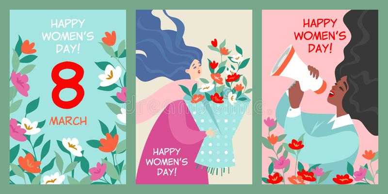 Set wektorowe pocztówki międzynarodowy kobieta dzień ilustracja wektor