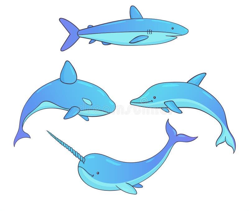 Set wektorowe podwodne istoty z wielorybami, rekinem, narwhal, i delfin ilustracji