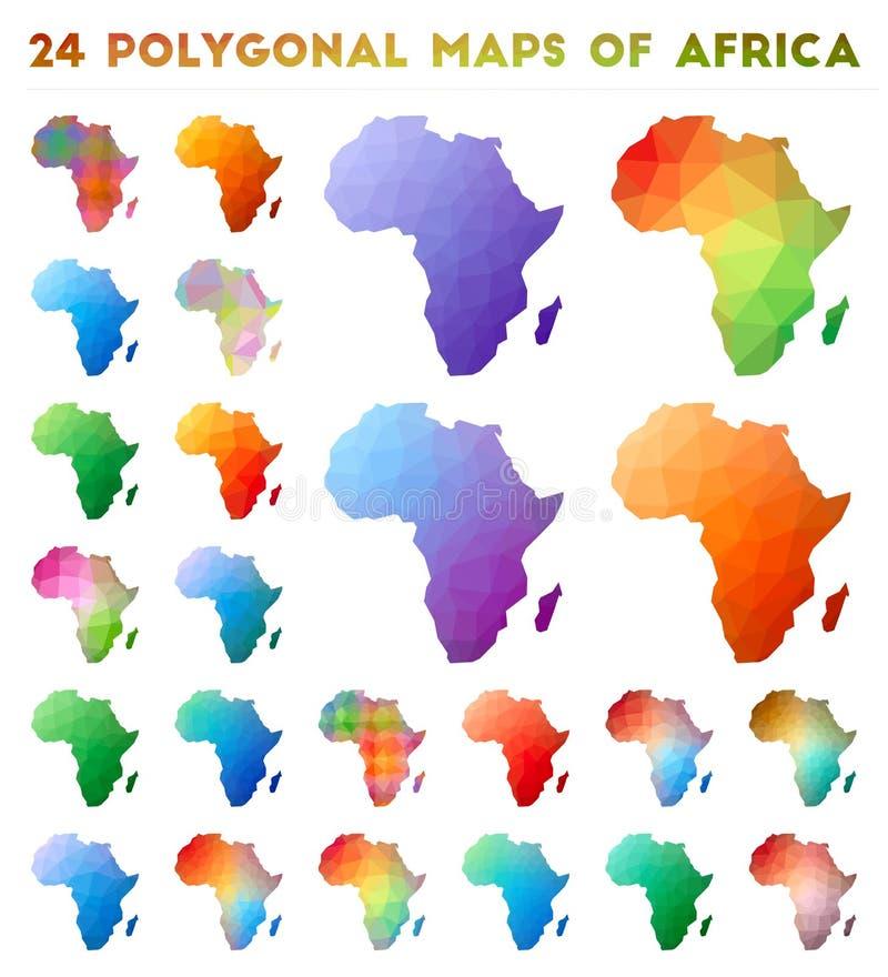 Set wektorowe poligonalne mapy Afryka royalty ilustracja