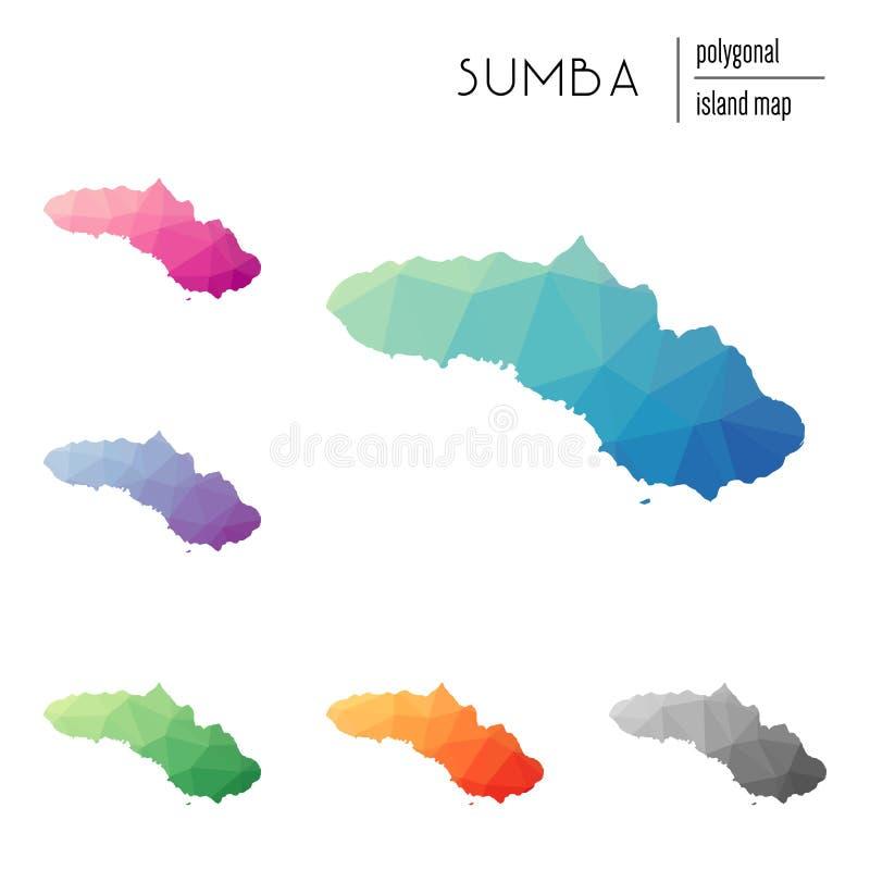 Set wektorowe poligonalne Sumba mapy wypełniać ilustracji