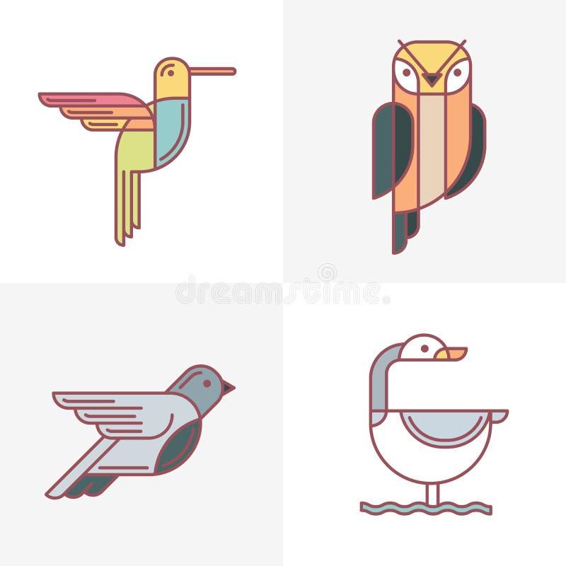 Set wektorowe ptaka loga ikony Kolorowa kreskowa ptak ilustracja hummingbird, sowa, gołąb i łabędź, royalty ilustracja