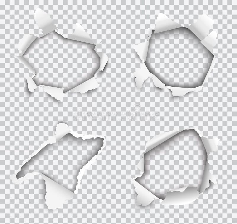 Set wektorowe realistyczne dziury drzeć w białej księdze odizolowywającej na przejrzystym tle ilustracji