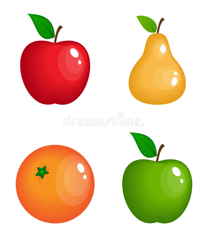 Set wektorowe realistyczne glansowane owoc ilustracja wektor