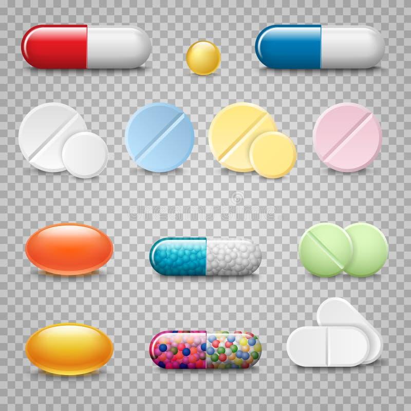 Set wektorowe realistyczne pigułki i kapsuły na przejrzystym tle Medycyny, pastylki, kapsuły, lek royalty ilustracja