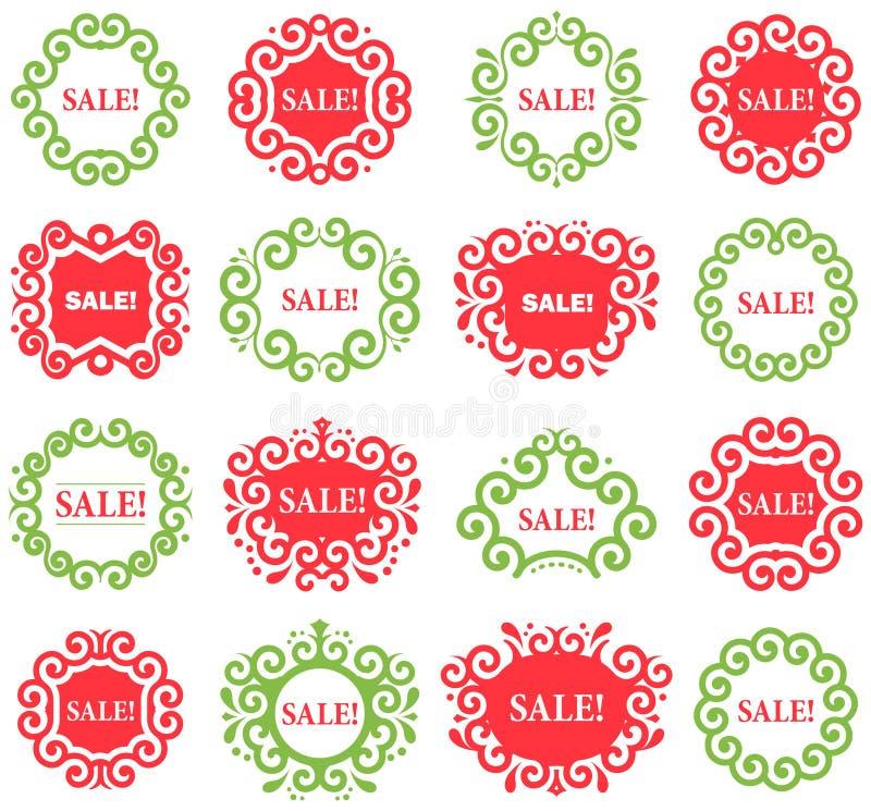 Set wektorowe rocznik etykietki dla Bożenarodzeniowych sprzedaży ilustracja wektor