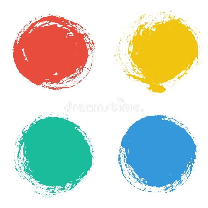 Set wektorowe round grunge ramy projekt rysująca elementów ręka ilustracji
