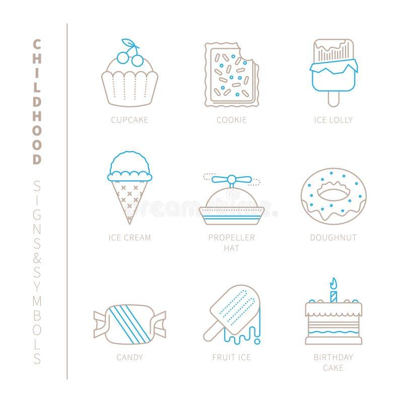 Set wektorowe słodkie karmowe ikony i pojęcia w mono cienkim kreskowym stylu ilustracja wektor