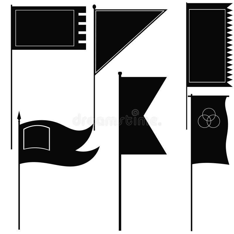 Set wektorowe sylwetki militarne flaga ilustracji