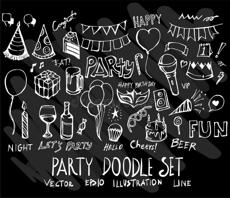 Set wektorowego doodle kolekci rysunkowy przyjęcie na czarnym backgroun royalty ilustracja