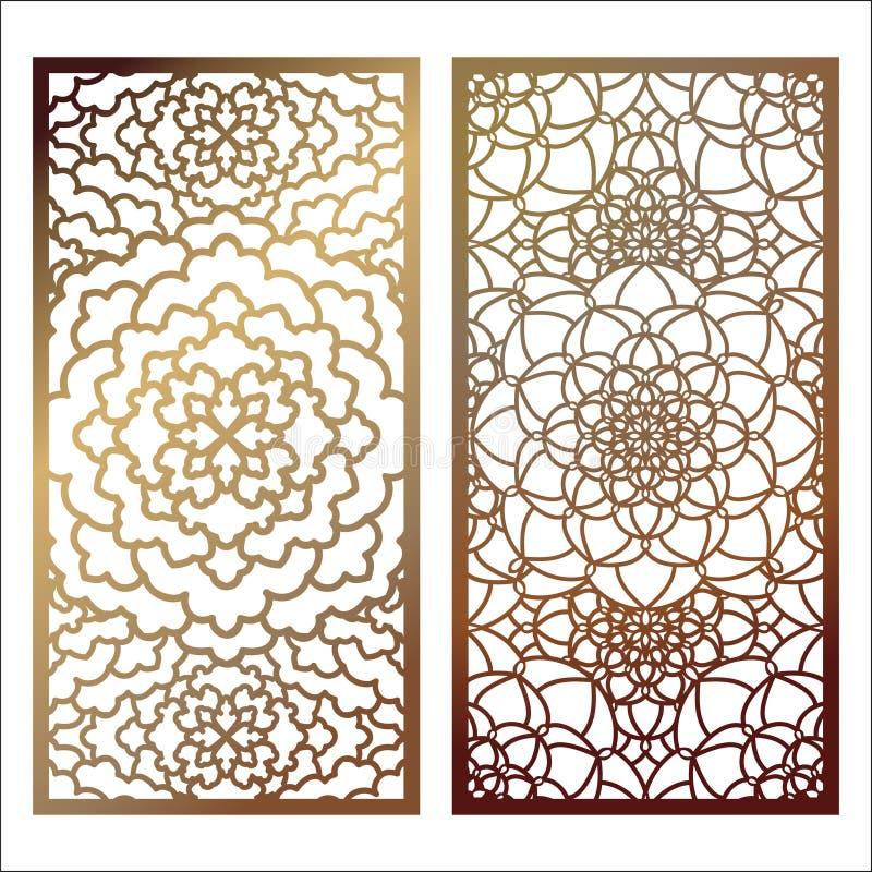 Set Wektorowego laseru rżnięty panel Deseniowy szablon dla dekoracyjnego p royalty ilustracja