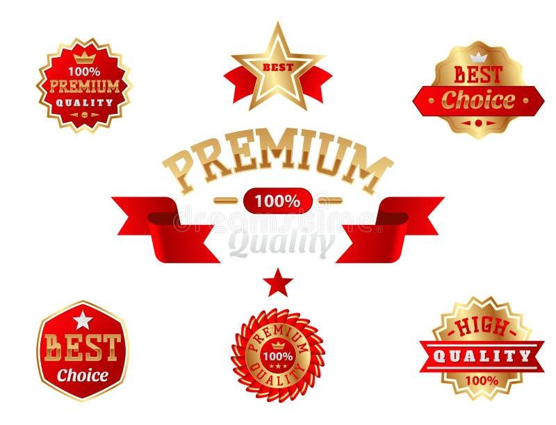 Set wektorowej odznaka produktu sklepowej sprzedaży ceny najlepszy majchery reklamuje etykietka symbol pomija promocyjną wektorow royalty ilustracja