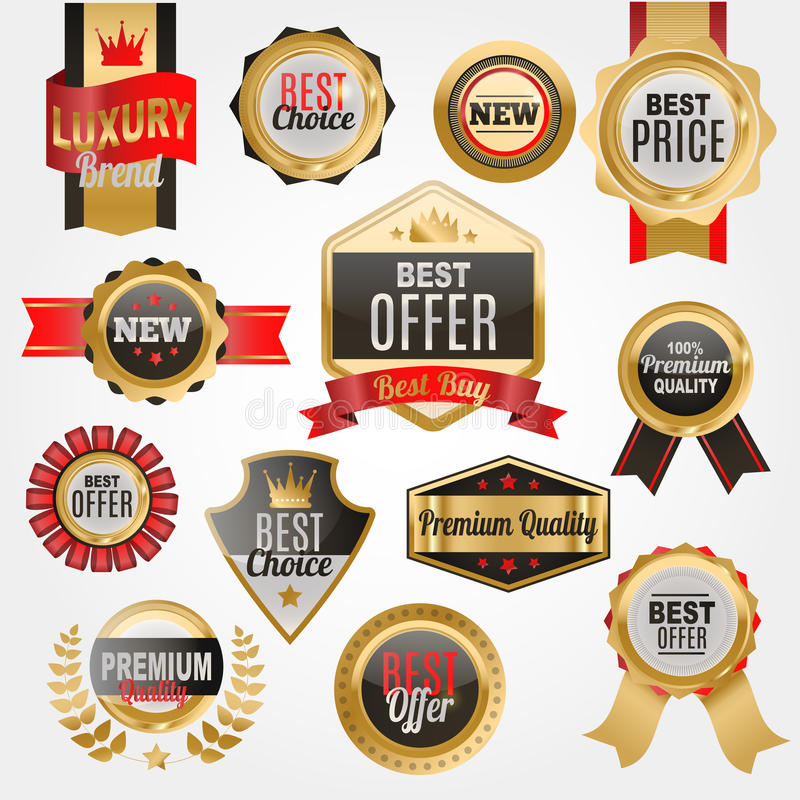 Set wektorowej odznaka produktu sklepowej sprzedaży ceny najlepszy majchery, zakupu handlu reklamy etykietki symbolu rabata promo ilustracja wektor