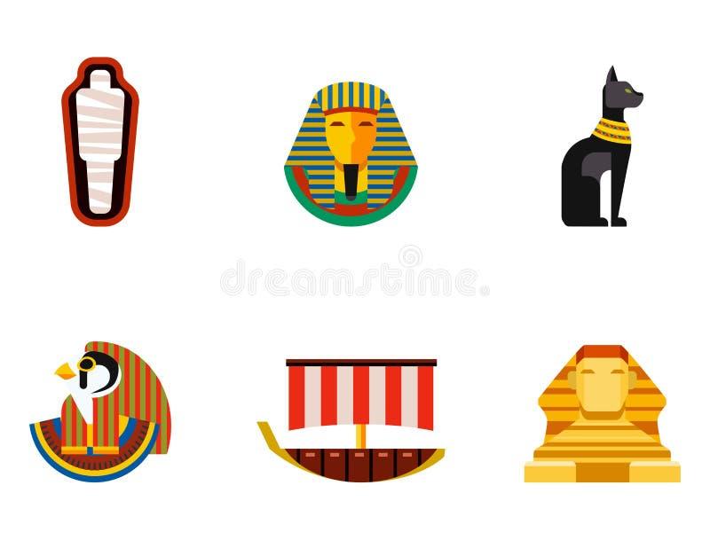 Set wektorowej płaskiej projekta Egypt podróży ikon kultury antyczni elementy ilustracyjni ilustracji