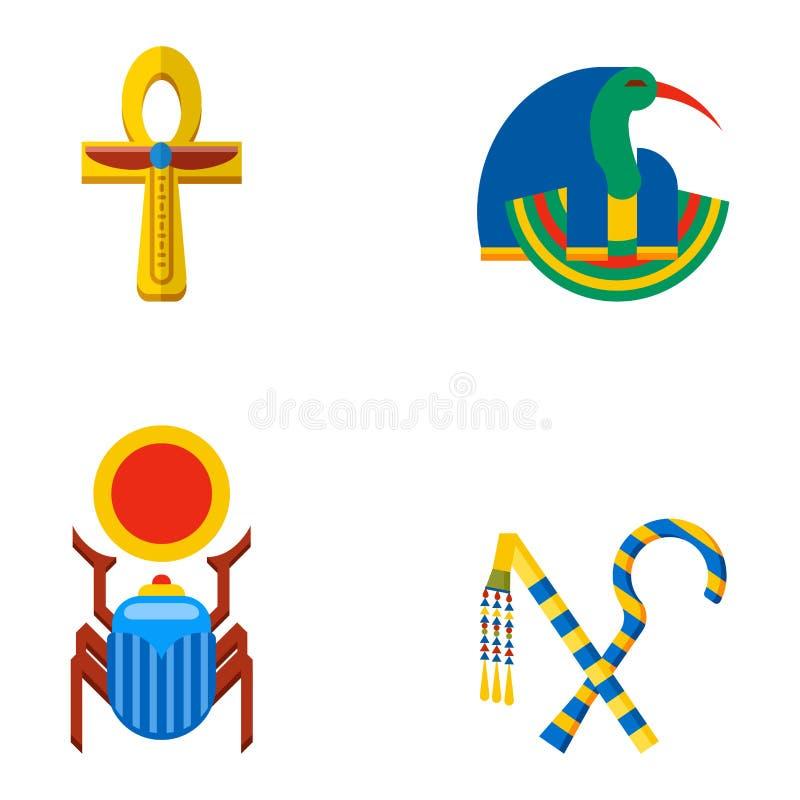 Set wektorowej płaskiej projekta Egypt podróży ikon kultury antyczni elementy ilustracyjni ilustracja wektor