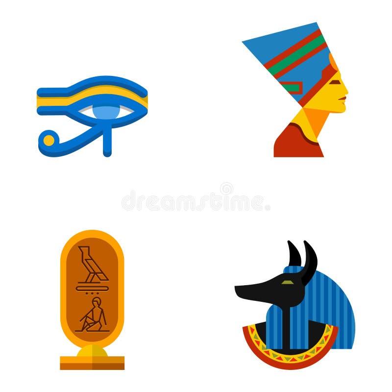 Set wektorowej płaskiej projekta Egypt podróży ikon kultury antyczni elementy ilustracyjni royalty ilustracja