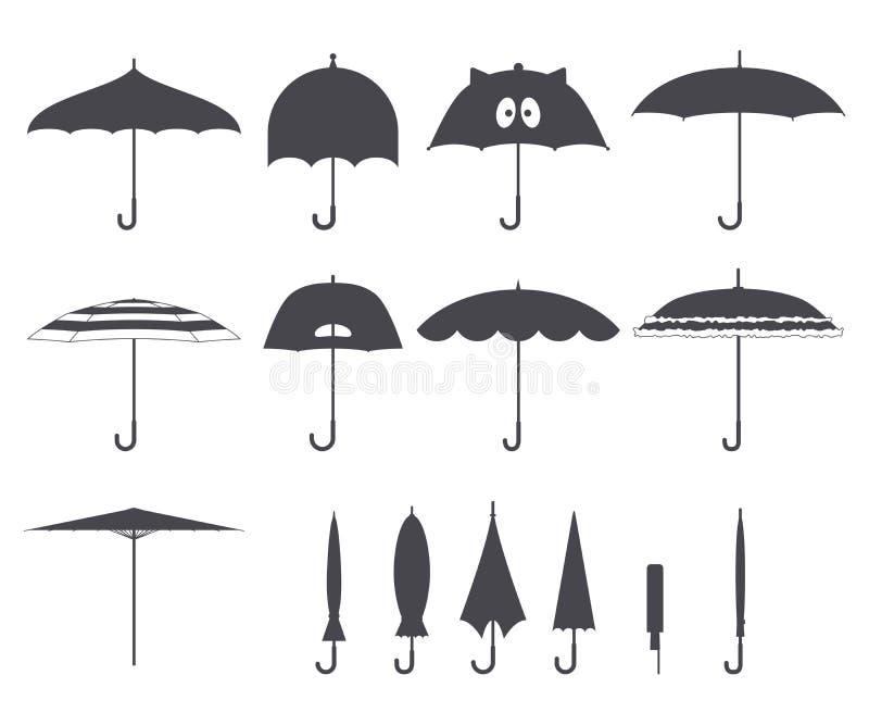 Set wektorowi śliczni czarny i biały parasole w płaskim projekta stylu Zamknięte i otwarte mod ikony Okładkowy akcesorium Nowożyt ilustracji