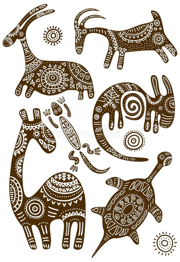 Set wektorowi Afrykańscy tradycyjni wzory z zwierzętami ilustracja wektor