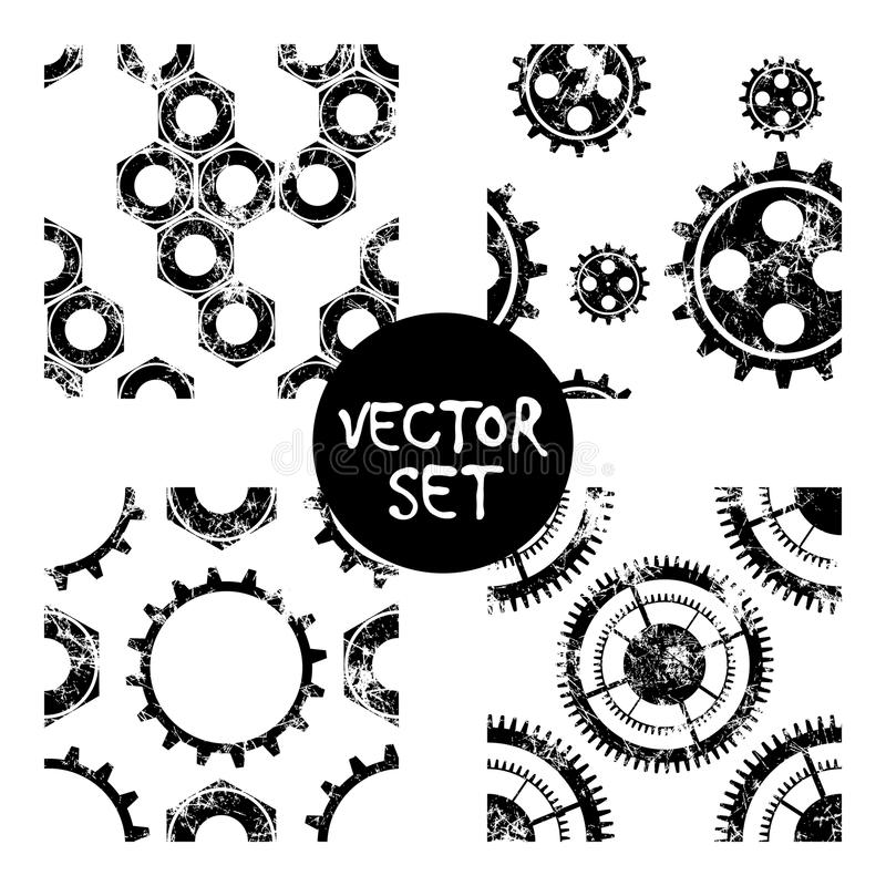 Set wektorowi bezszwowi wzory z mechanizmem zegarek Kreatywnie geometryczni czarni, biali grunge tła z przekładni kołem, Textur ilustracja wektor