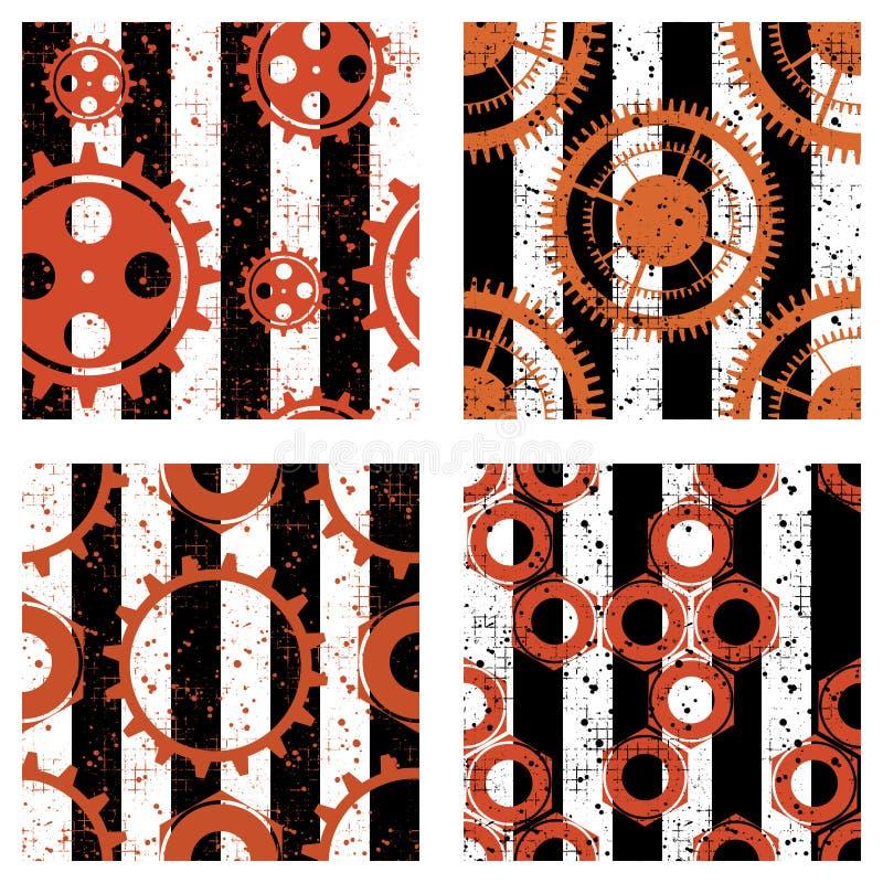 Set wektorowi bezszwowi wzory z mechanizmem zegarek, metal części, śrubowe dokrętki ilustracja wektor