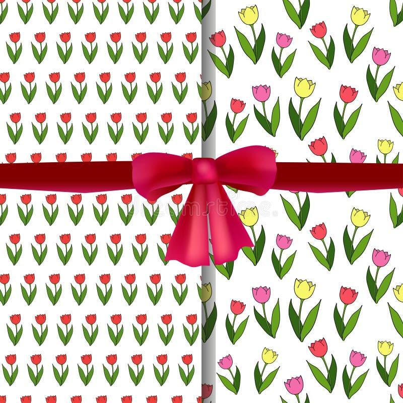 Set wektorowi bezszwowi wzory z tulipanami i realistycznym czerwonym łękiem royalty ilustracja