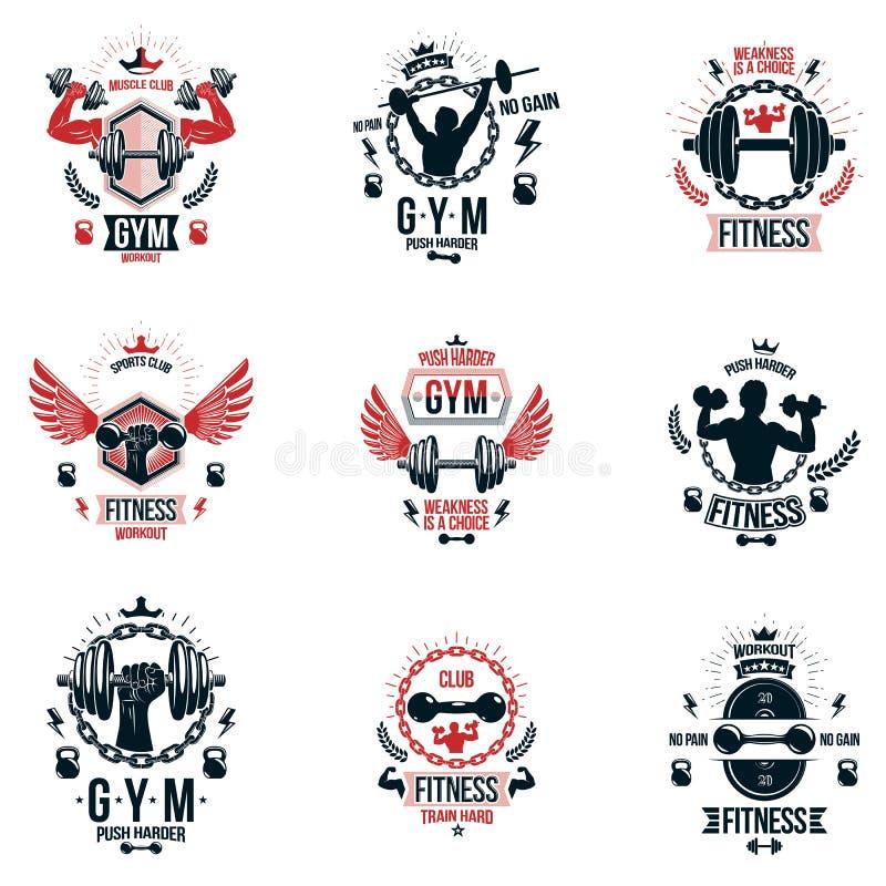 Set wektorowi bodybuilding tematu emblematy i reklamowi plakaty royalty ilustracja