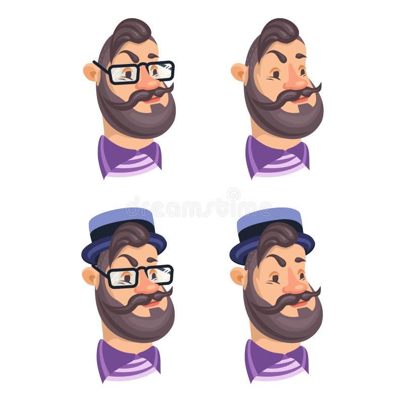 Set wektorowi brodaci mężczyzna twarzy modnisie ilustracji