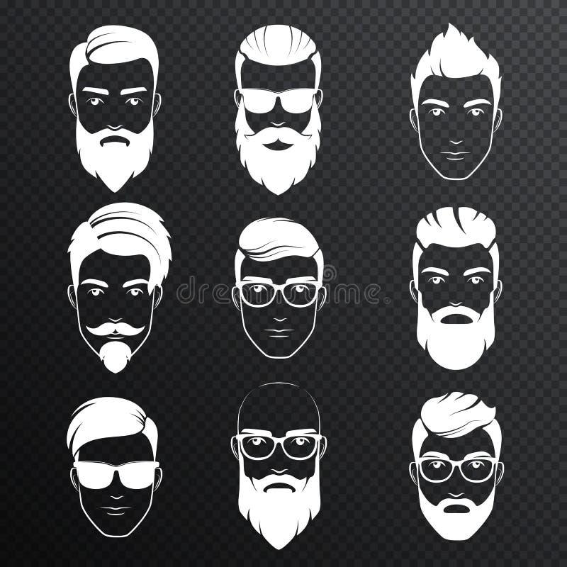Set wektorowi brodaci modnisiów mężczyzna stawia czoło na transperant alfa tle Biali kolorów ostrzyżenia, brody, wąsy ustawiający ilustracji