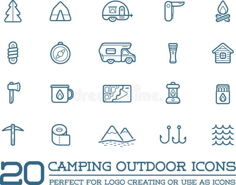 Set Wektorowi campingu obozu elementy i Plenerowej aktywności ikony Ilustracyjni może używać jako logo ilustracji