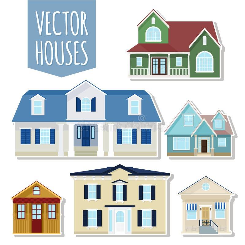 Set wektorowi chałupa domy ilustracja wektor