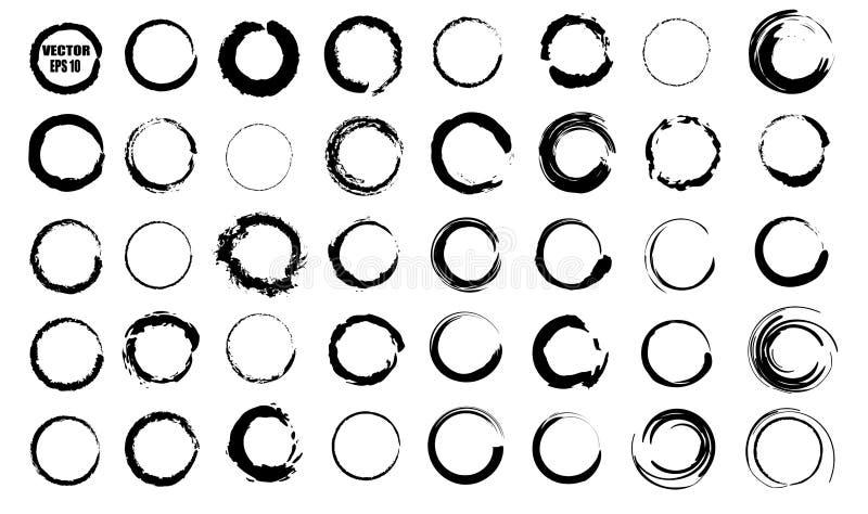 Set wektorowi czarni okręgi Czarni punkty na białym tle odizolowywającym Punkty dla grunge projekta ilustracji