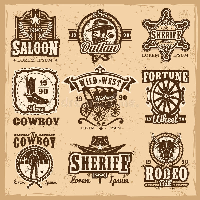 Set wektorowi dzicy zachodni logowie royalty ilustracja