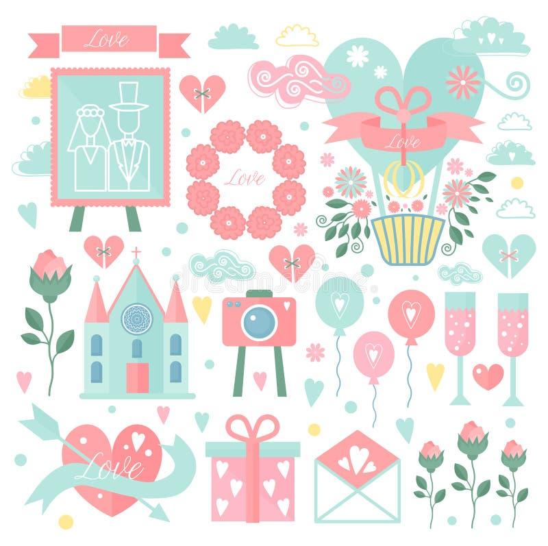 Set wektorowi elementy dla poślubiać projekt data save Kolekcja kwieciści doodles, opuszcza, gałąź, kwiaty, prezenty ilustracji
