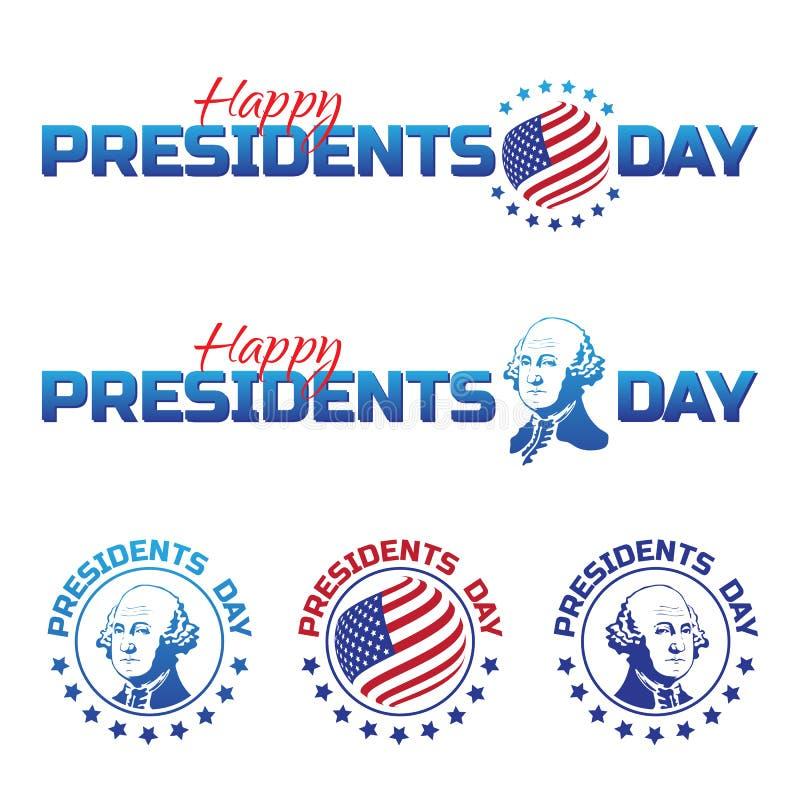 Set wektorowi elementy lub logowie Szczęśliwi prezydenci dni - Krajowy amerykański wakacje Wektorowa ilustracja odizolowywająca n royalty ilustracja