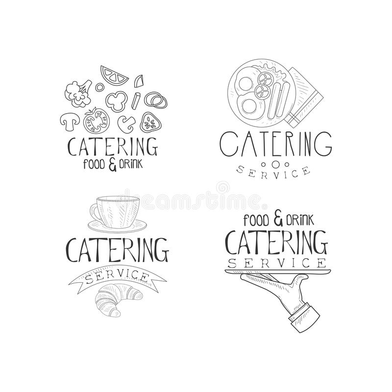 Set wektorowi emblematy dla catering firm Gastronomia Monochromatyczni logowie z warzywami, Angielski śniadanie, kawa ilustracja wektor