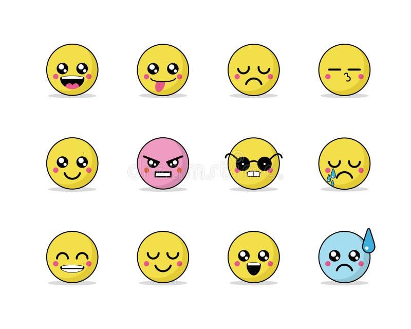 Set wektorowi emoticons w kreskowym stylu, emoji na białym tle śliczne ikony ilustracja wektor